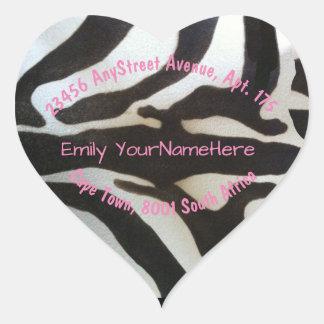 Zebra Stripes Return Address Heart Sticker