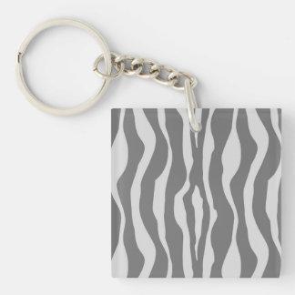 Zebra stripes - Shades of Grey Double-Sided Square Acrylic Keychain