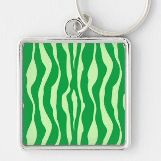 Zebra stripes - Shades of Lime Green Silver-Colored Square Keychain