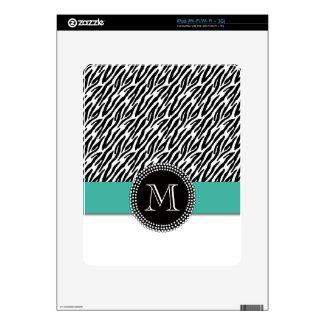 Zebra Stripes Turquoise Monogram iPad 1 Skin musicskins_skin
