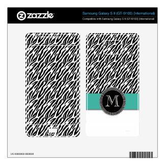 Zebra Stripes Turquoise Monogram Samsung Skin Samsung Galaxy S II Skins
