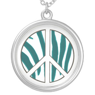 Zebra stripes, turquoise & white Peace necklaces