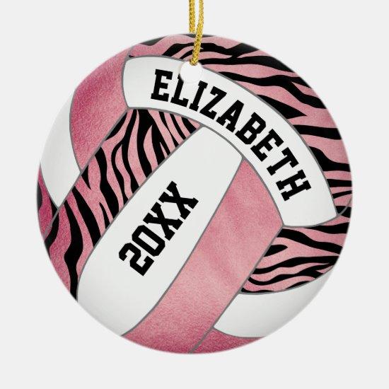 zebra stripes w rose gold personalized volleyball ceramic ornament