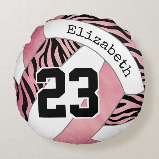 zebra stripes w rose gold personalized volleyball round pillow