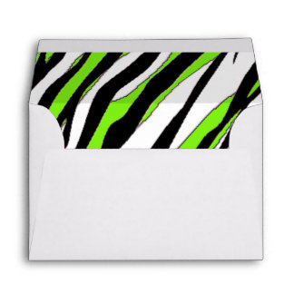 Zebra Stripes with Abstract Lime Green Stripes Envelope