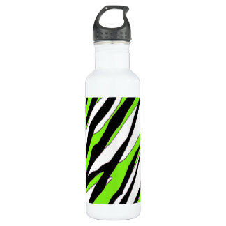 Zebra Stripes with Abstract Lime Green Stripes 24oz Water Bottle