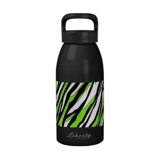 Zebra Stripes with Abstract Lime Green Stripes Reusable Water Bottle