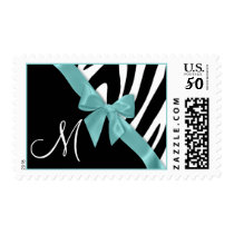 Zebra Stripes with Aqua Ribbon Monogram Postage