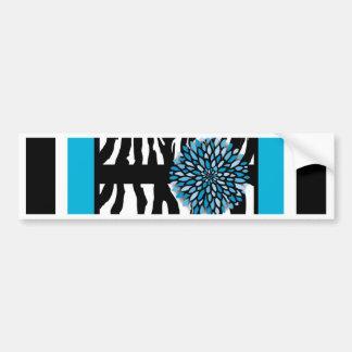 Zebra Stripes with Blue Chrysanthemum Bumper Sticker