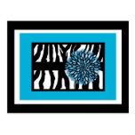 Zebra Stripes with Blue Chrysanthemum Postcard