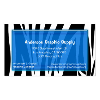 Zebra Stripes With Blue Glass Rectangle Business Card