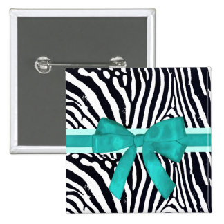 Zebra Stripes with Blue Ribbon and bow Pattern Button