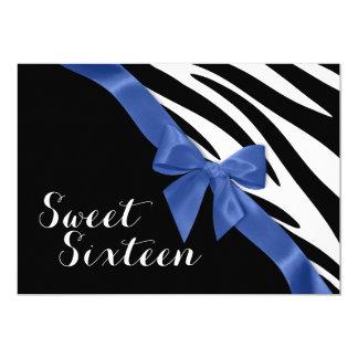 Zebra Stripes with Bow Sweet Sixteen Birthday 5x7 Paper Invitation Card