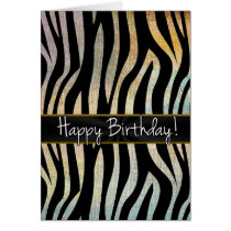 Zebra Stripes With Earth Tones Birthday Cards