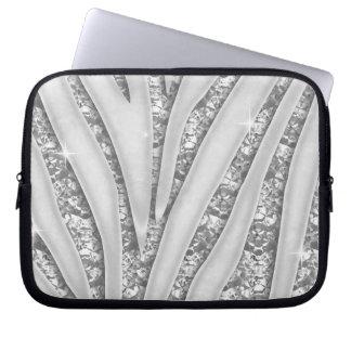 Zebra Stripes with Faux White Diamonds Laptop Sleeve