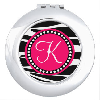 Zebra Stripes With Hot Pink Circle Monogram Area Compact Mirrors
