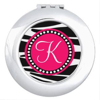 Zebra Stripes With Hot Pink Circle Monogram Area Vanity Mirror