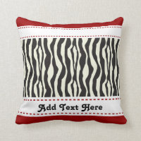 Zebra Stripes with Red Border Custom Throw Pillow