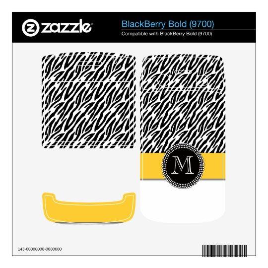 Zebra Stripes Yellow Monogram BlackBerry Skin