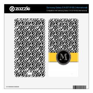 Zebra Stripes Yellow Monogram Samsung Skin Samsung Galaxy S II Skins