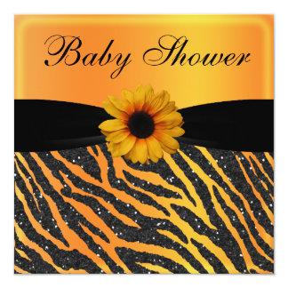 Zebra, Sunflower Animal Print Glitter Baby Shower Custom Announcements