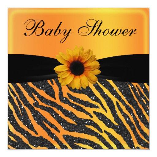 zebra sunflower animal print glitter baby shower invitation zazzle