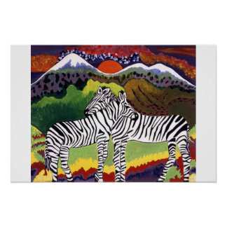 ZEBRA SUNSET,  African Collection  Poster