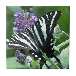 Zebra Swallowtail Butterfly Flowers Floral Tile