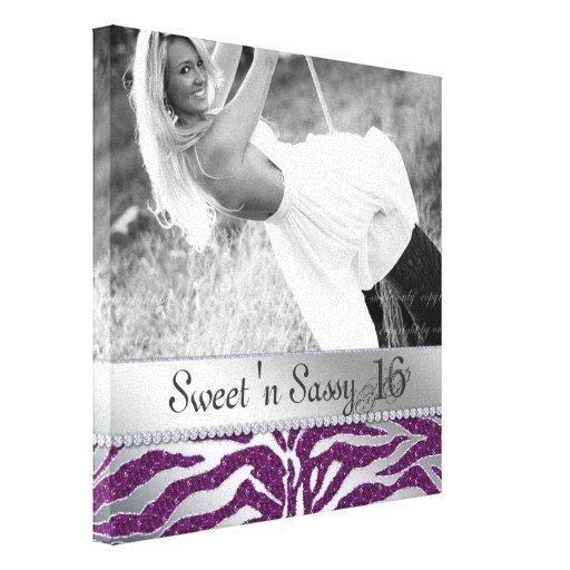 Zebra Sweet 16 Girl Canvas Print Photo Purple Silv
