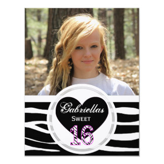 Zebra Sweet 16: Picture:Party Invitation