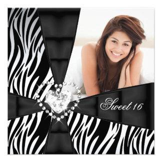 Zebra Sweet 16 Sixteen Birthday Party Photo Custom Invitation