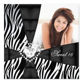 Zebra Sweet 16 Sixteen Birthday Party Photo 5.25x5.25 Square Paper Invitation Card