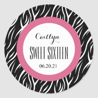 ZEBRA Sweet Sixteen 16 Custom V16 BLACK and PINK Classic Round Sticker
