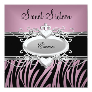 Zebra Sweet Sixteen 16 Party Silver Pink Black Invites