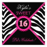 Zebra Sweet Sixteen Pink Lace Bling Invitations