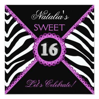 Zebra Sweet Sixteen Purple Lace Bling Invitations