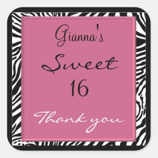Zebra Sweet Sixteen Stickers