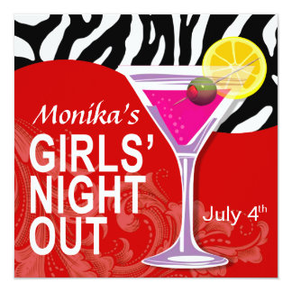 Zebra Swoop Girls' Night Out Cocktail Party Card