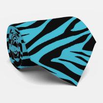 Zebra- Teal Blue & Black Tie