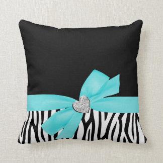 Zebra Teal Blue Bow Diamond Heart Throw Pillow