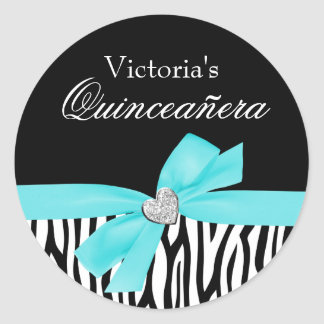 Zebra Teal Blue Bow Diamond Quinceanera Classic Round Sticker