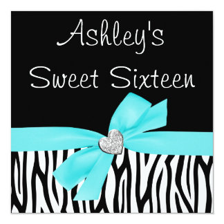 Zebra Teal Blue Bow Diamond Sweet 16 Invitations