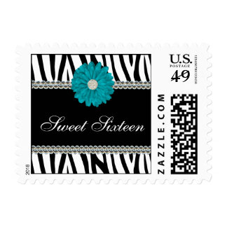 Zebra Teal Blue Daisy Gems Sweet 16 Birthday Postage