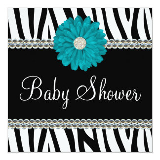 Zebra Teal Blue Daisy Printed Gems Baby Shower 5.25x5.25 Square Paper Invitation Card