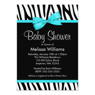 Zebra Teal Blue Printed Bow Baby Shower 5x7 Paper Invitation Card