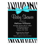 Zebra Teal Blue Printed Bow Baby Shower Card