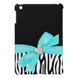 Zebra Teal Blue Printed Bow Diamond Heart Cover For The iPad Mini