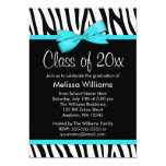 Zebra Teal Blue Printed Bow Graduation Party Card