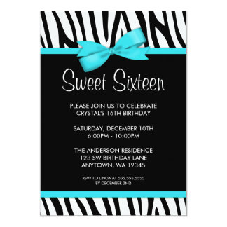 Zebra Teal Blue Printed Bow Sweet 16 Birthday Card