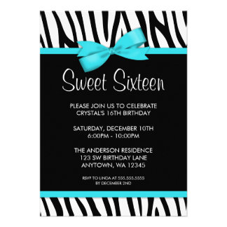 Zebra Teal Blue PrintedBow Sweet 16 Birthday Party Custom Announcements